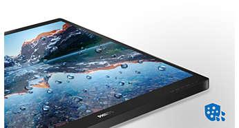 La superficie frontal del monitor cumple el estándar IP54 de resistencia al agua y al polvo