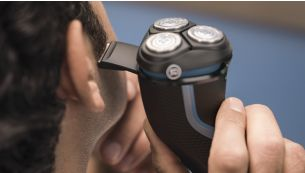 Pop-up trimmer for moustache and sideburns