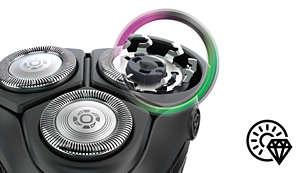 Las 27cuchillas autoafilables garantizan una afeitada al ras constante y limpia