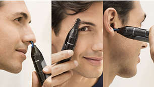 Trim nose, ears and eyebrows with total comfort