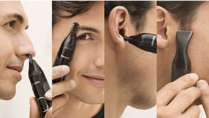 Trim nose, ear, details and eyebrows with total comfort