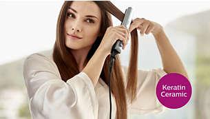 Pürüzsüz, ipeksi ve parlak saçlar için keratin seramik plakalar