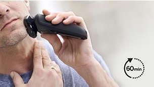 Opptil 60 minutter med ledningsfri barbering når batteriet er fulladet