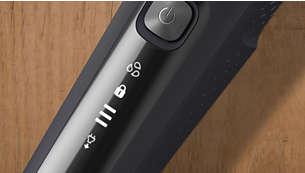 LED-skjerm med ikoner som gjør at du kan bruke barbermaskinen intuitivt