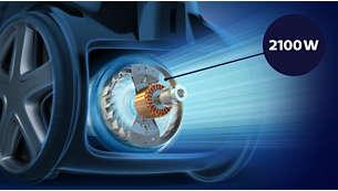 محرك قوي بقدرة 2100 واط لقوة شفط عالية