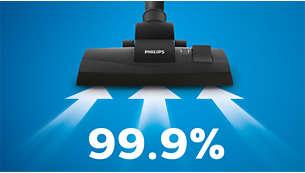 Cattura il 99,9% della polvere* per risultati di pulizia impeccabili