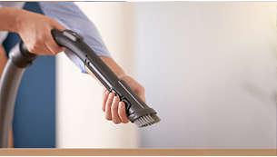 Myk børste integrert i håndtaket, alltid klar til bruk