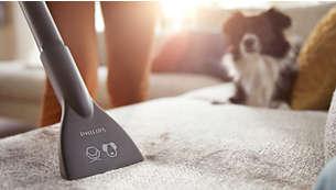 S pripomočkom za čiščenje pohištva preprosto odstranite dlake hišnih ljubljenčkov