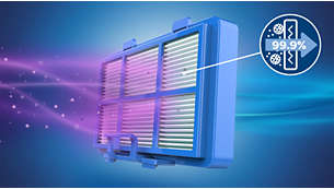 Allergy H13 filtru sistēma aiztur > 99,9 % smalko putekļu