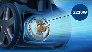 2200W motor proizvaja največjo moč sesanja 500W