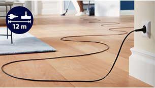 El alcance de 12metros permite llegar más lejos sin desenchufar