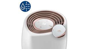 3 Feuchtigkeitsstufen garantieren einen optimalen Feuchtigkeitsbereich von 40 bis 60%