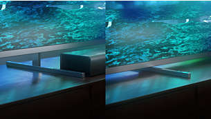 Metal stand height adjusts to accommodate a soundbar.