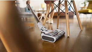 Slim design reaches under low furniture