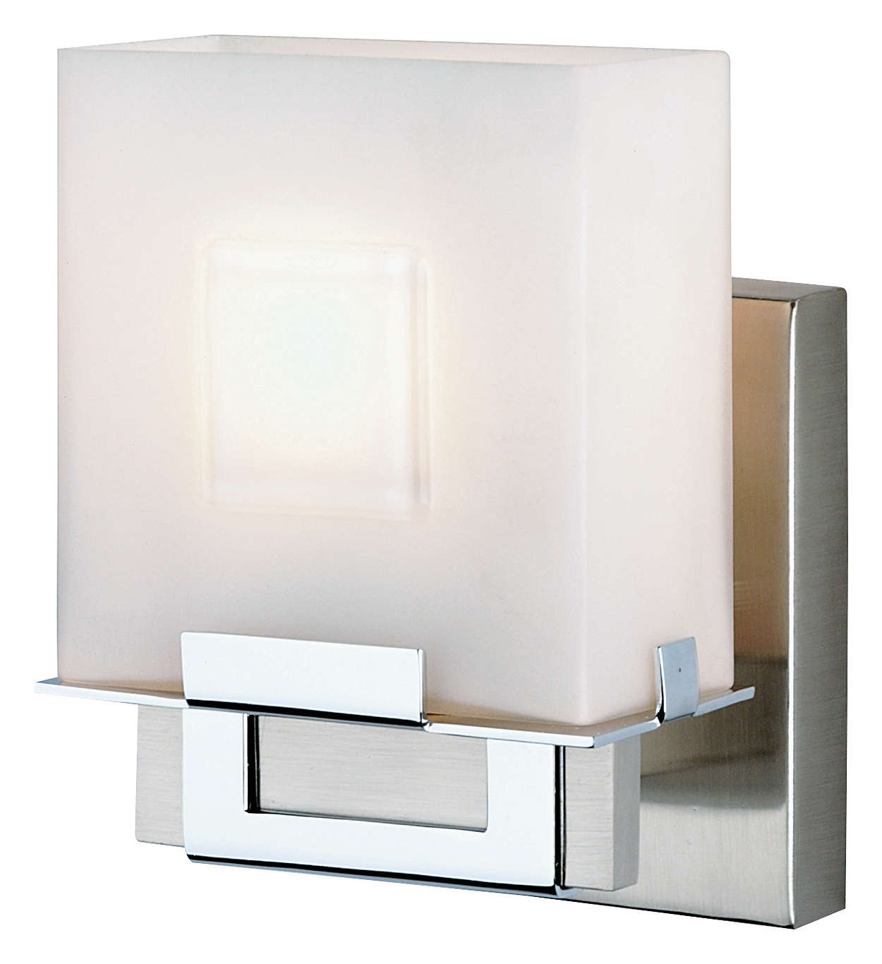 Square 1-light Bath in Satin Nickel finish