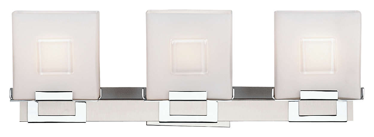 Square 3-light Bath in Satin Nickel finish