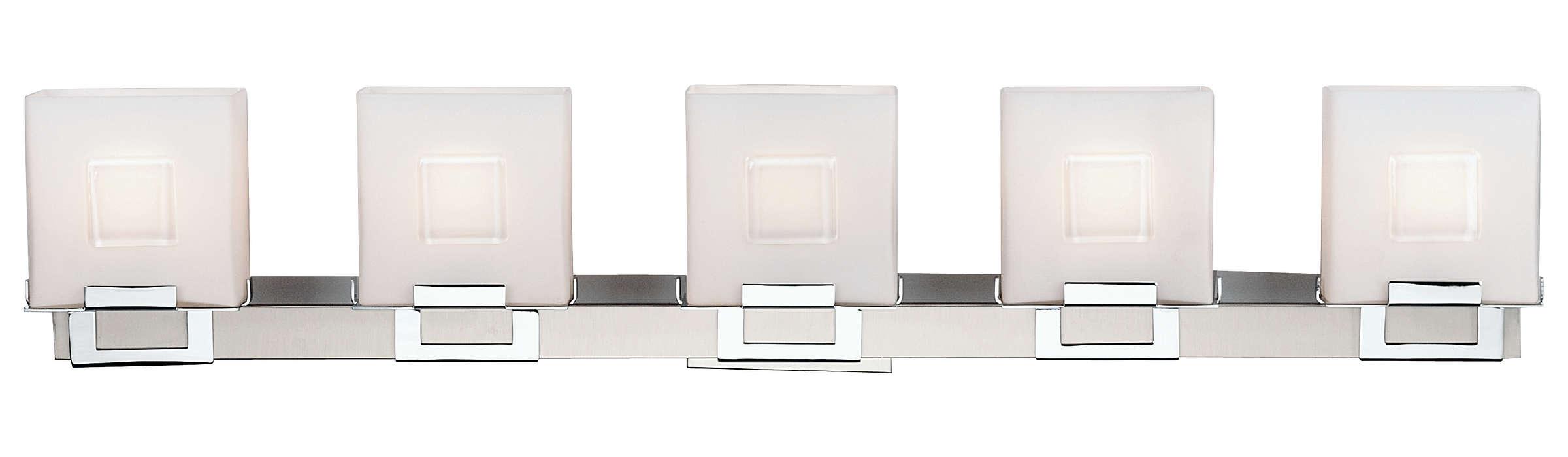 Square 5-light Bath in Satin Nickel finish
