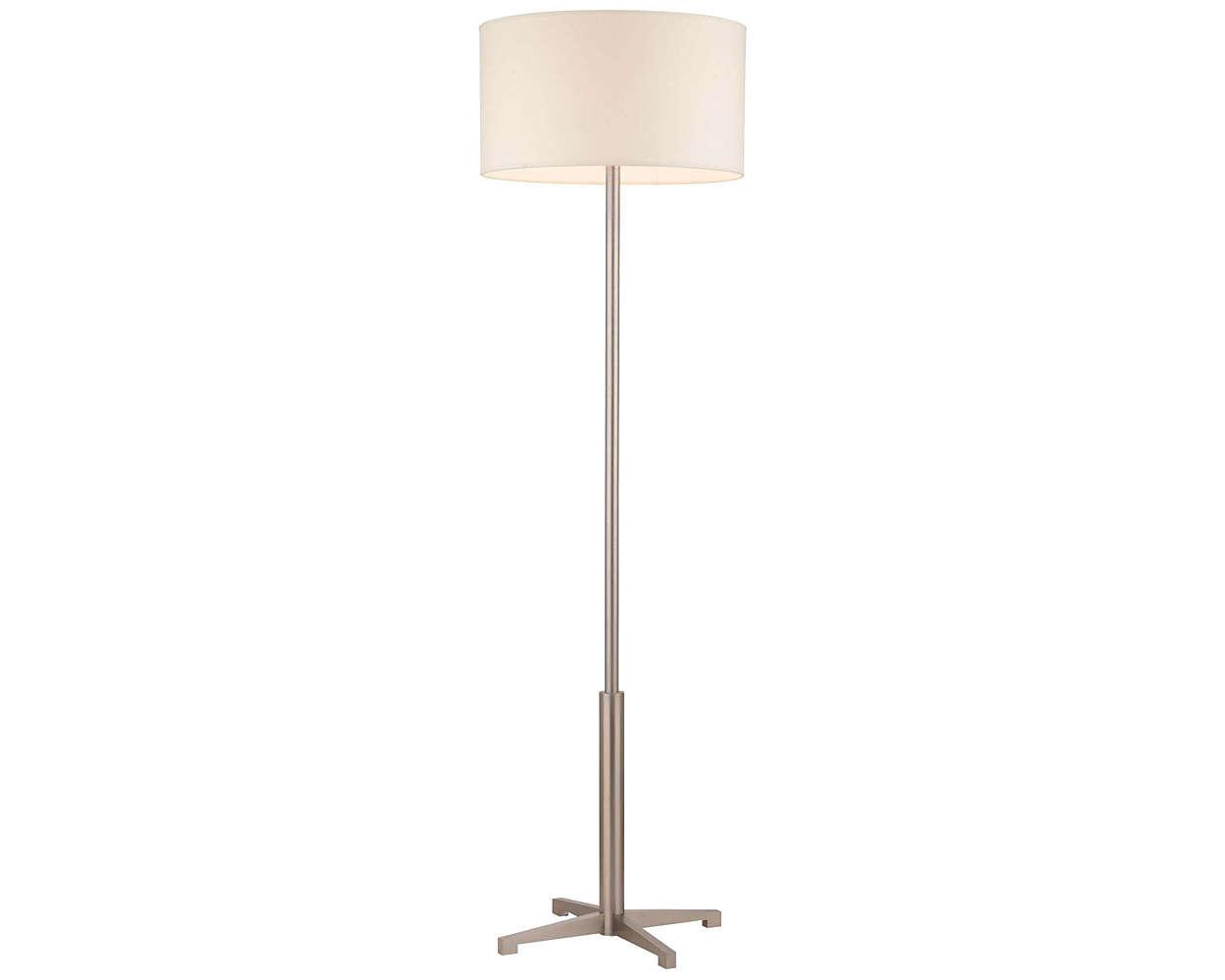 Fisher Island 2-light Floor Lamp, Satin Nickel