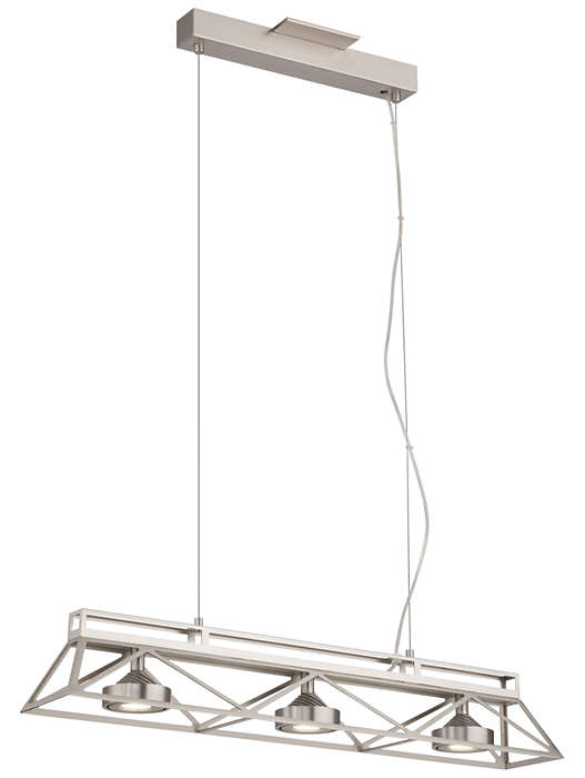 Bridge 3-light LED Pendant in Satin Nickel finish