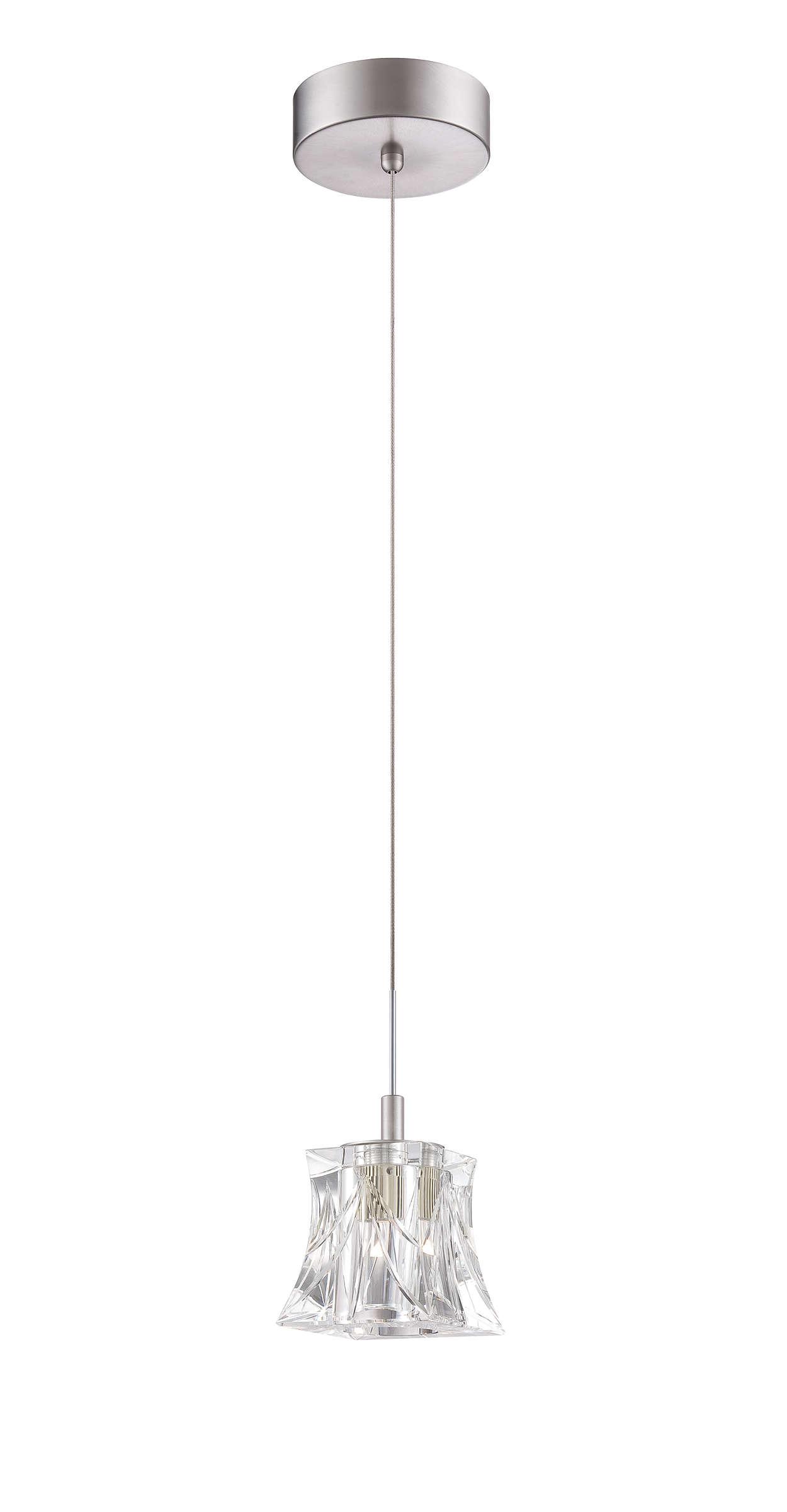 Suspensión LED de una luz en acabado de níquel satinado