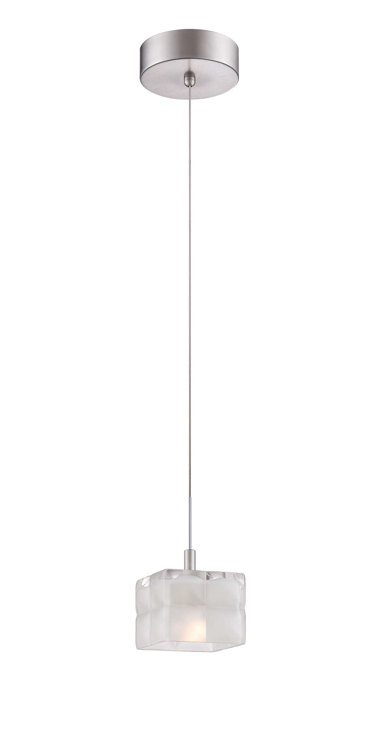 Cushion 1-light LED pendant in Satin Nickel finish