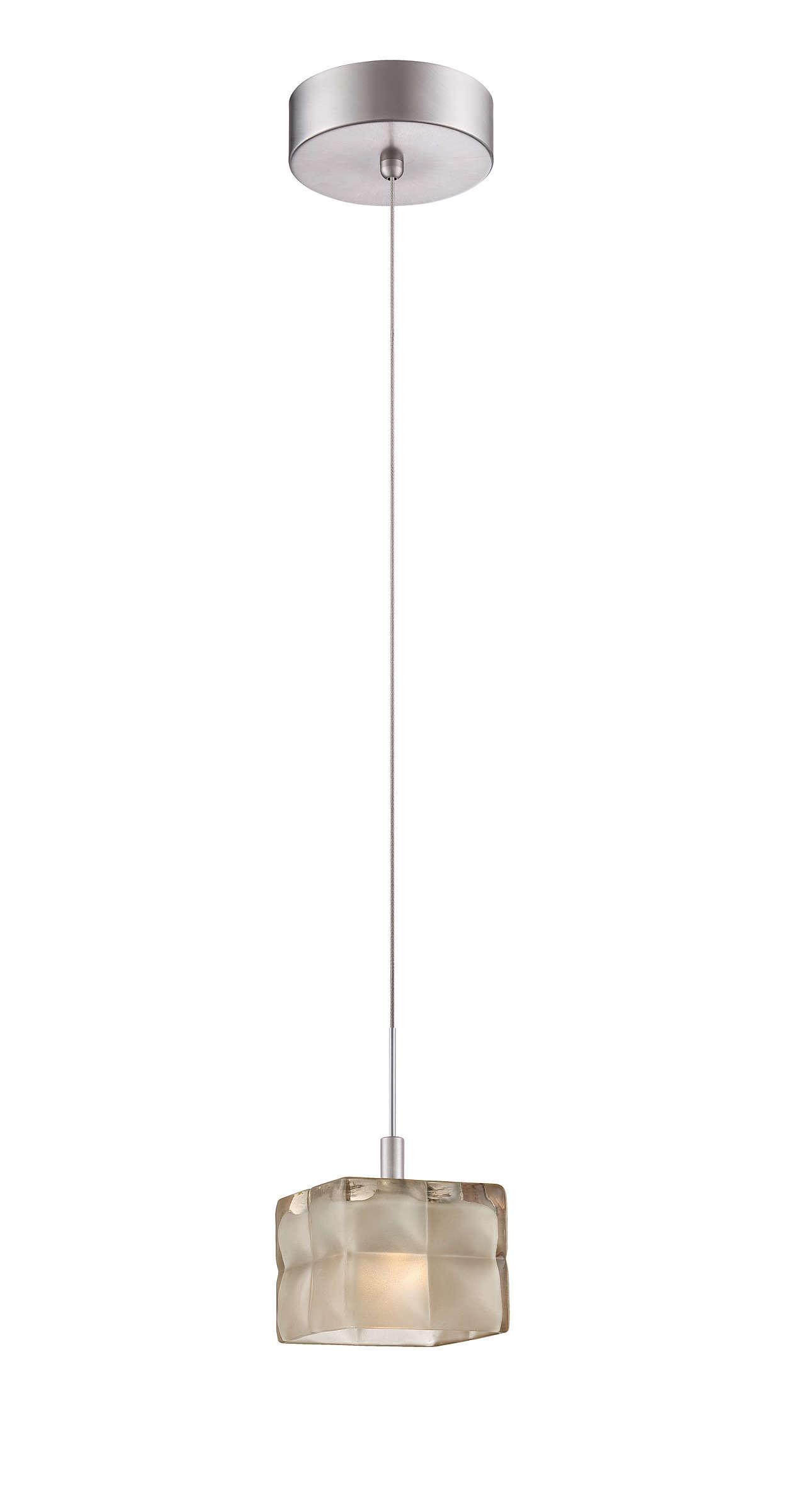 Cushion 1-light LED pendant in Satin Nickel finish