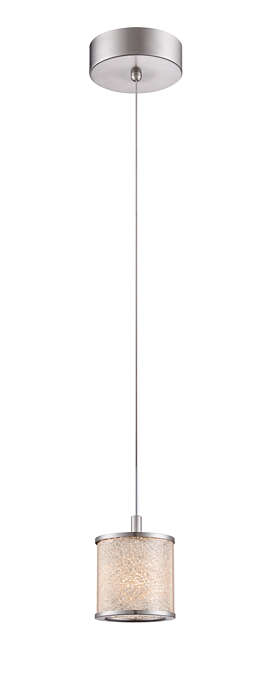 Tiffany 1-light LED pendant in Satin Nickel finish