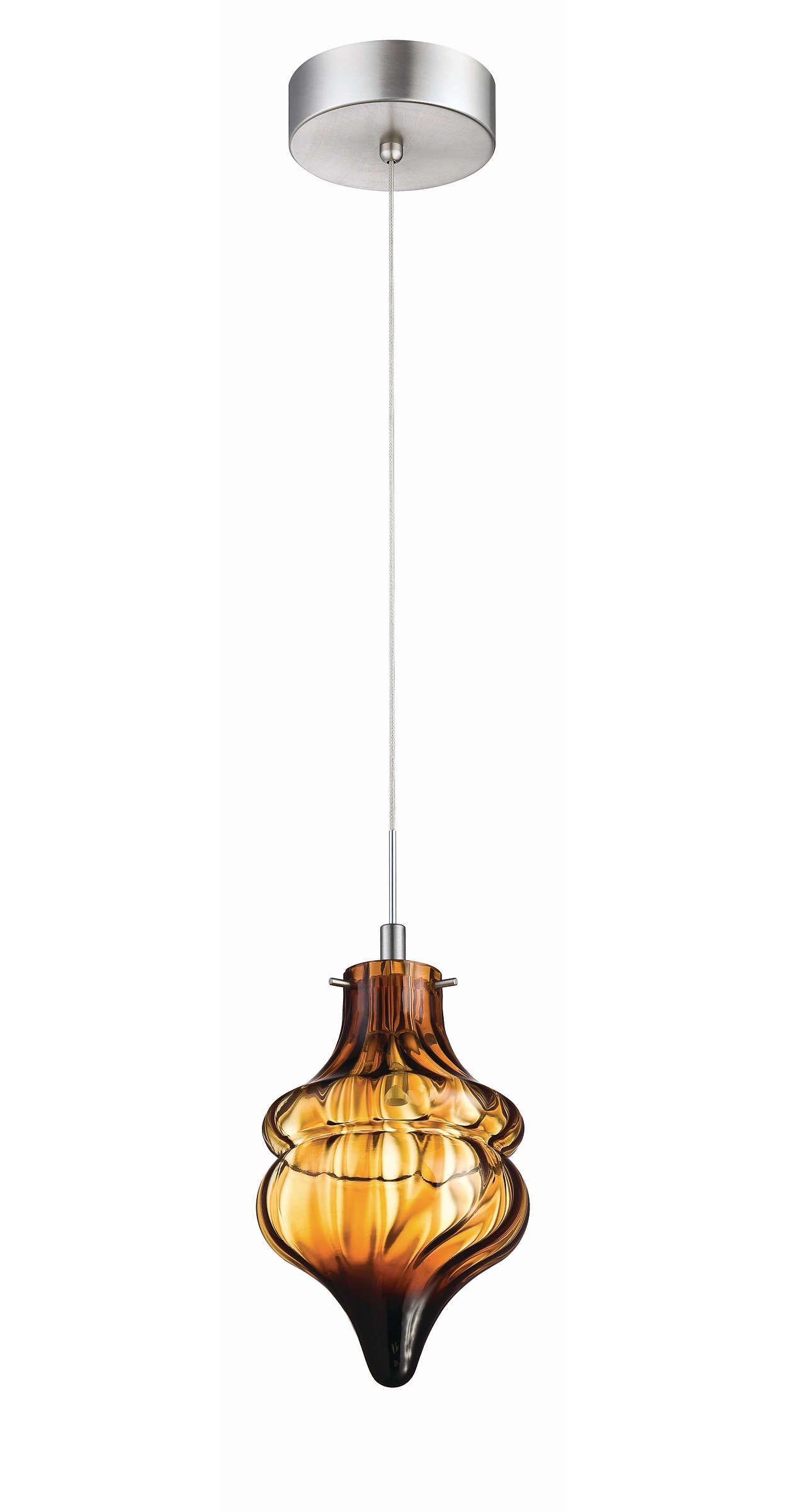 Fez 1-light LED pendant in Satin Nickel finish