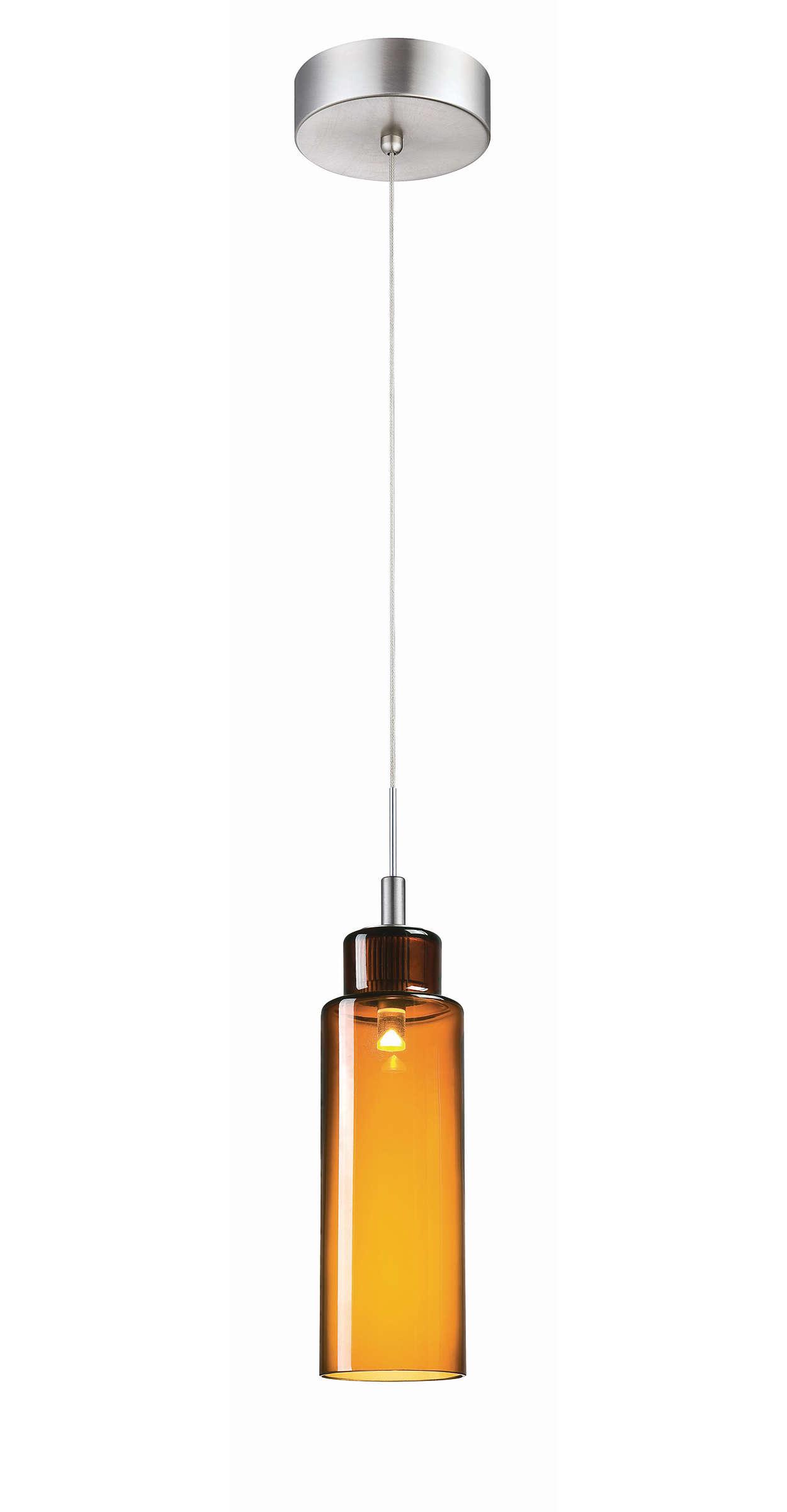 Suspensión LED de una luz Harmonize, acabado de níquel satinado