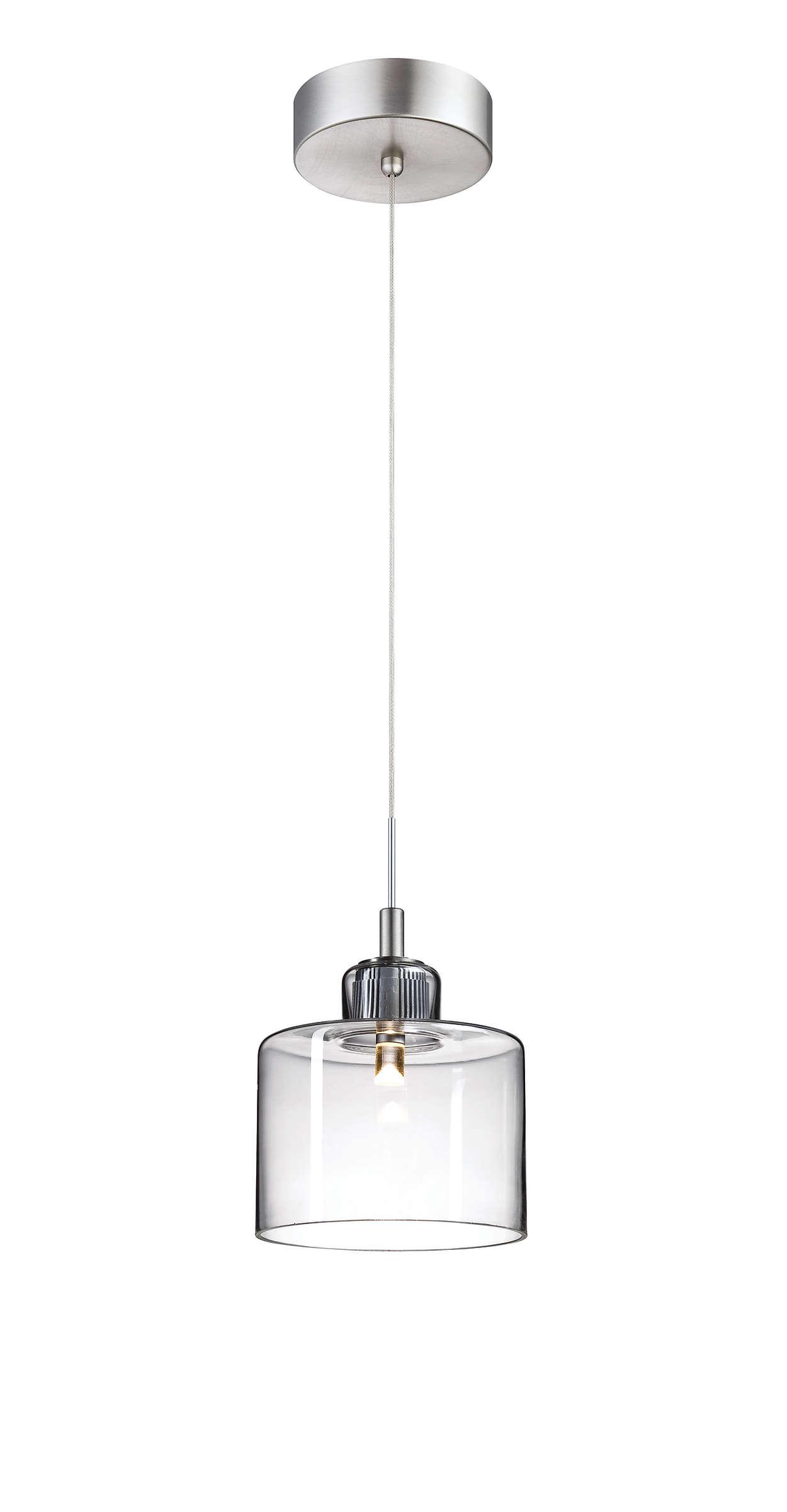 Harmonize 1-light LED pendant, Satin Nickel finish