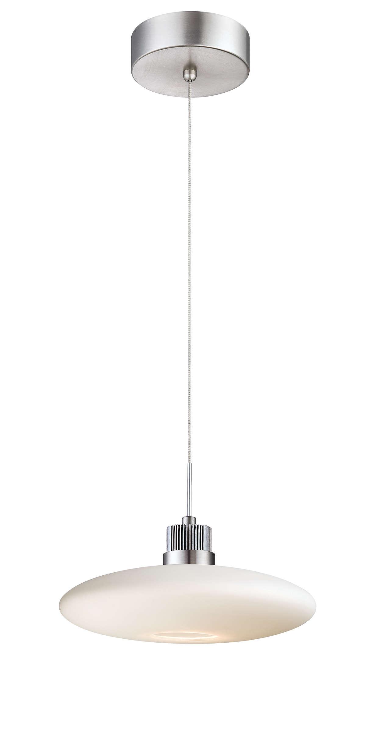 Wisp 1-light LED pendant in Satin Nickel finish