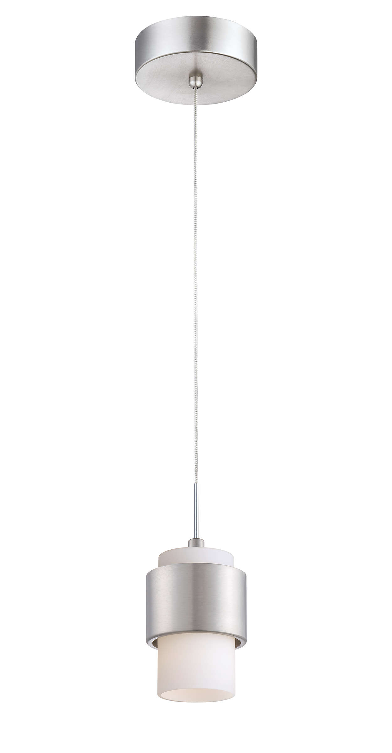 Canister 1-light LED pendant, Satin Nickel finish