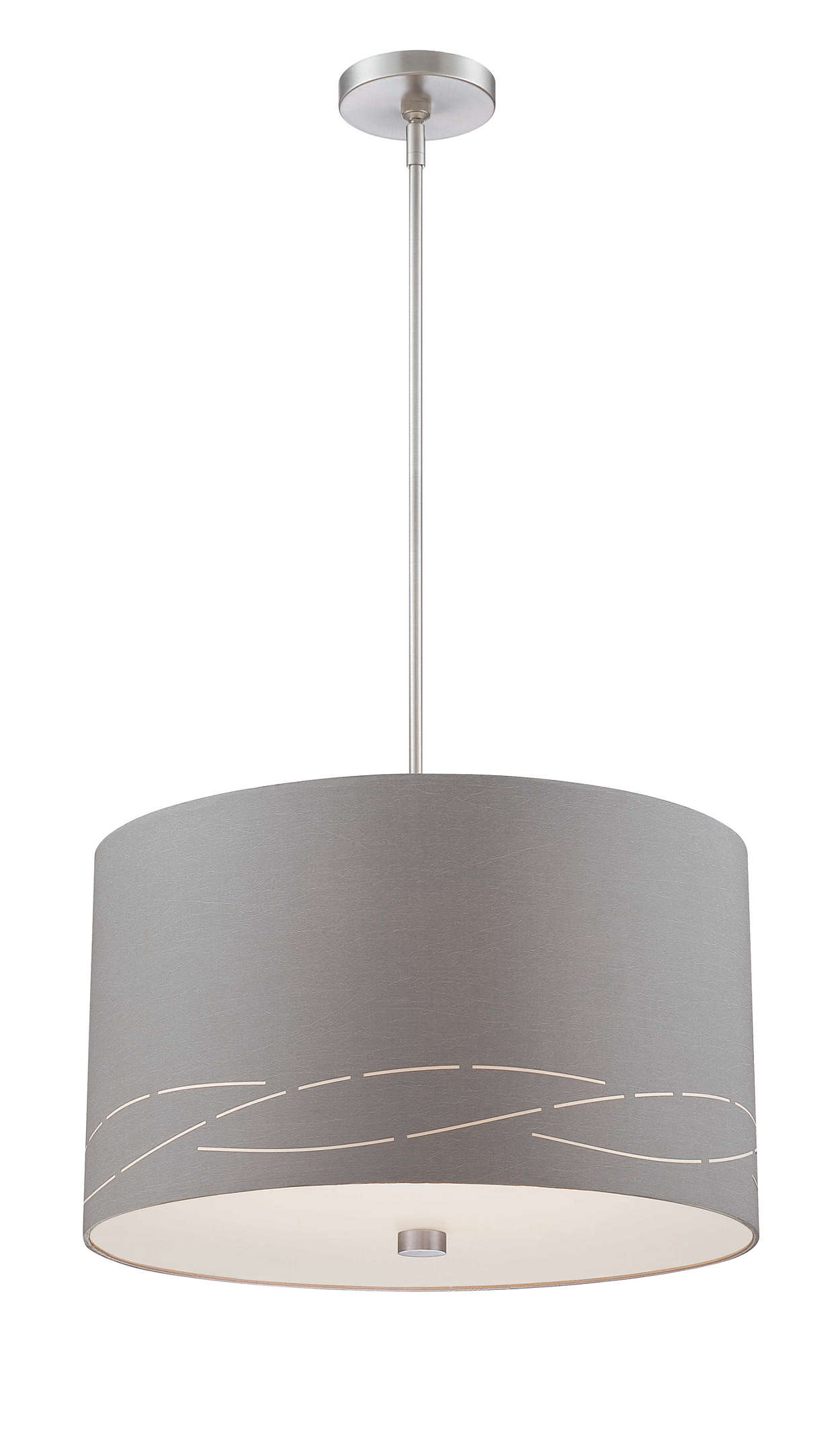 Silver Laser 2-light pendant, Satin Nickel finish