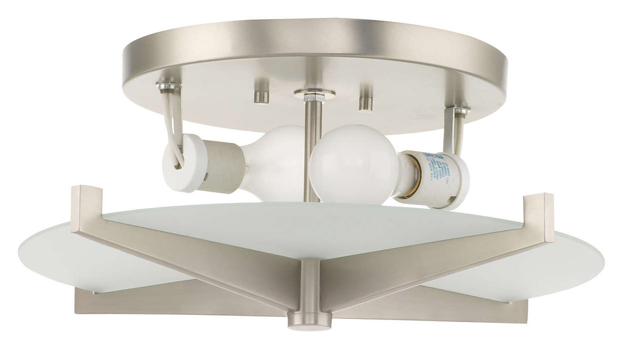 Fisher Island 2-light Ceiling, Satin Nickel finish