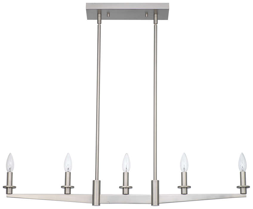 Fisher Island 5-light Pendant, Satin Nickel finish