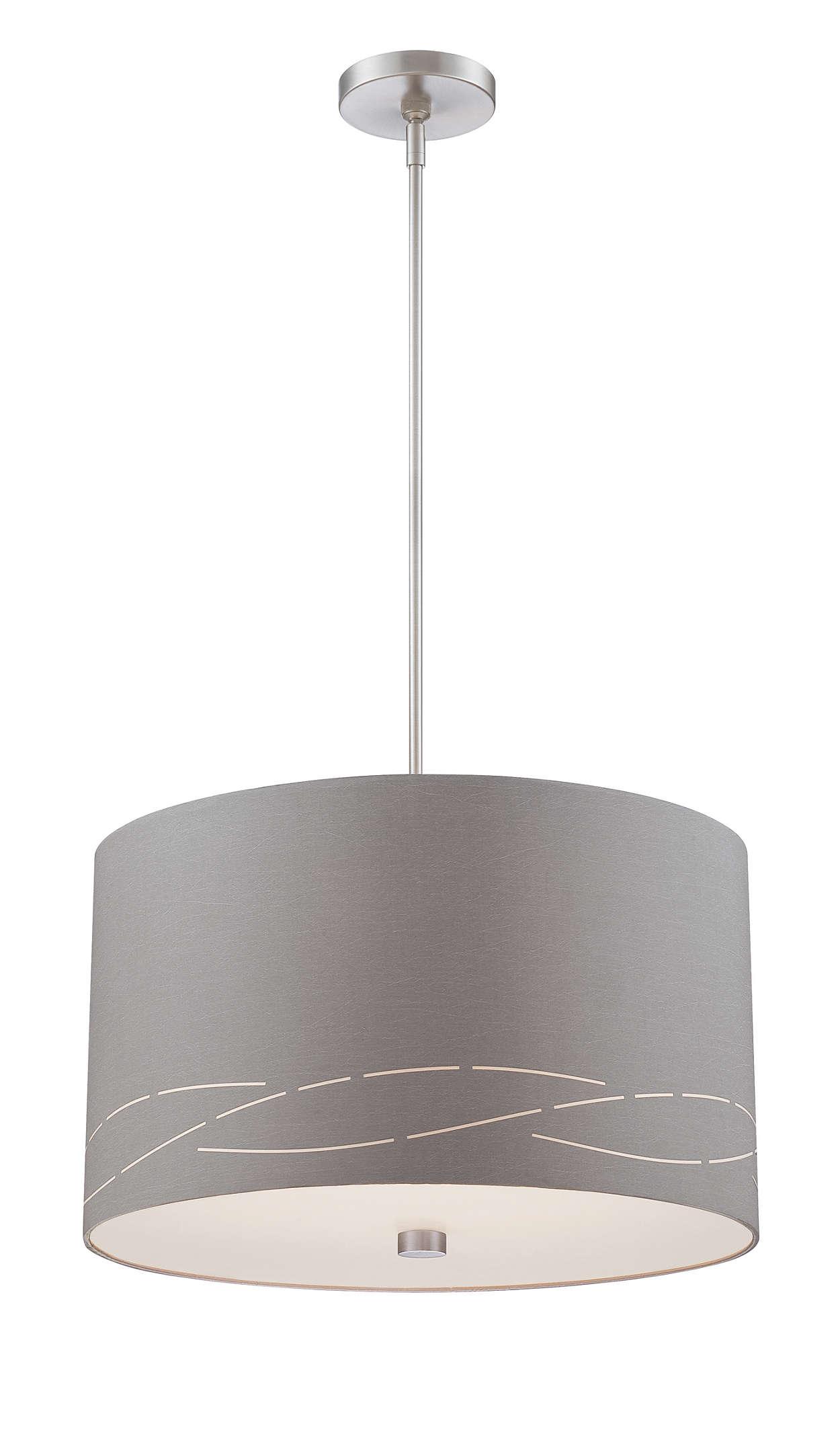 Silver Laser 3-light pendant, Satin Nickel finish