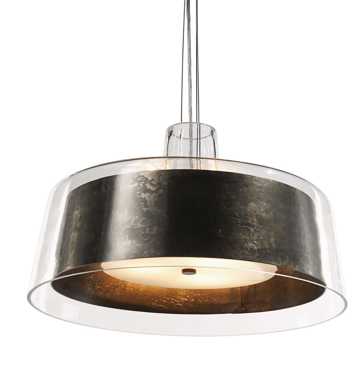 Bari 3-light pendant in Natural Steel finish