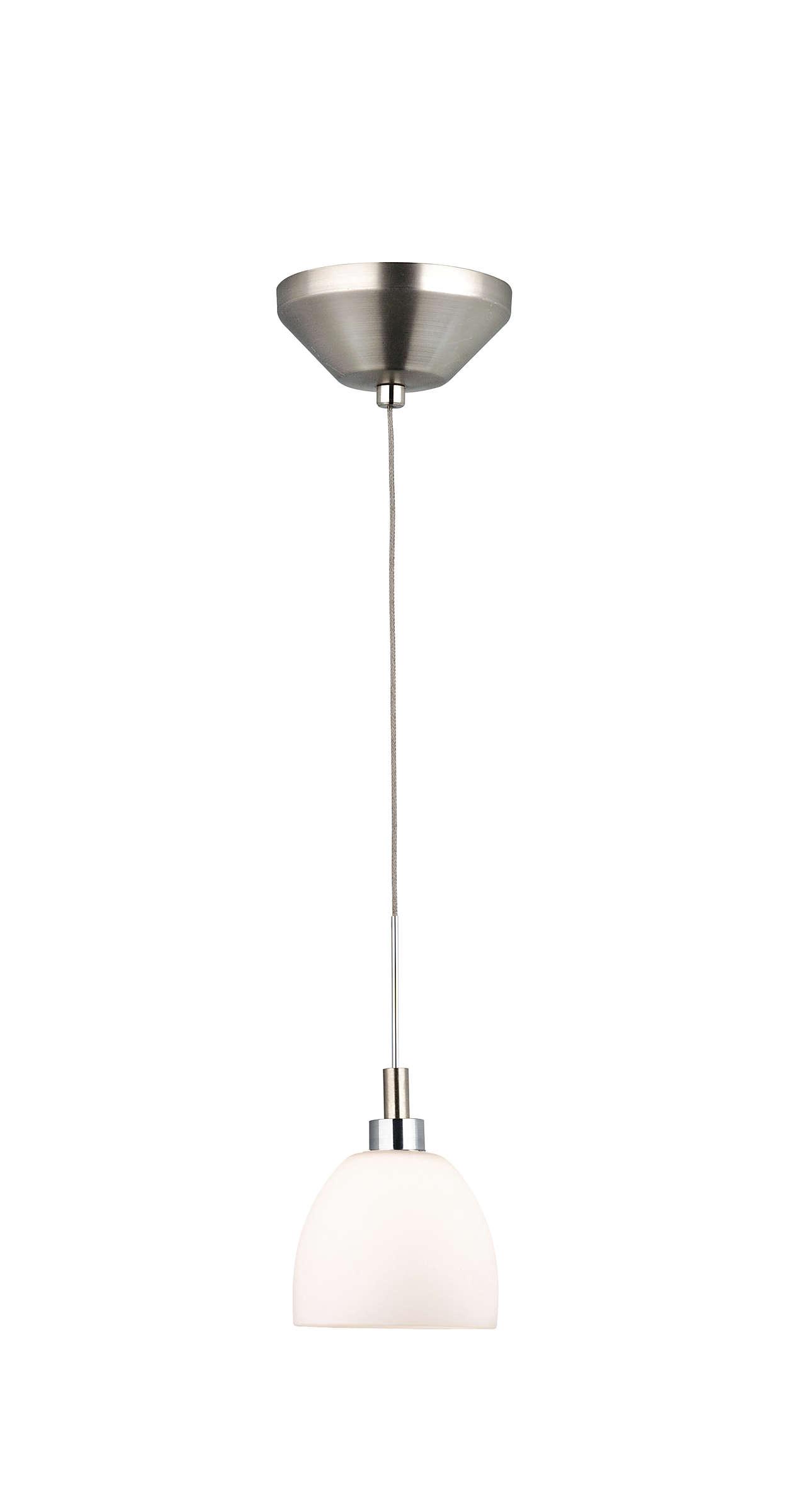 Bolla 1-light pendant in Satin Nickel finish