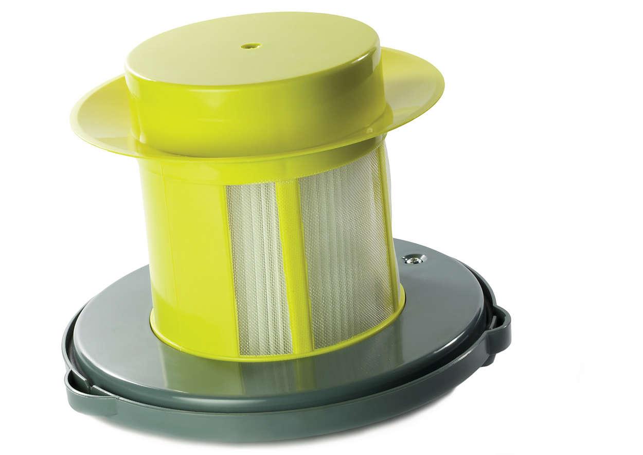 Sostiene el filtro de aire del aspirador
