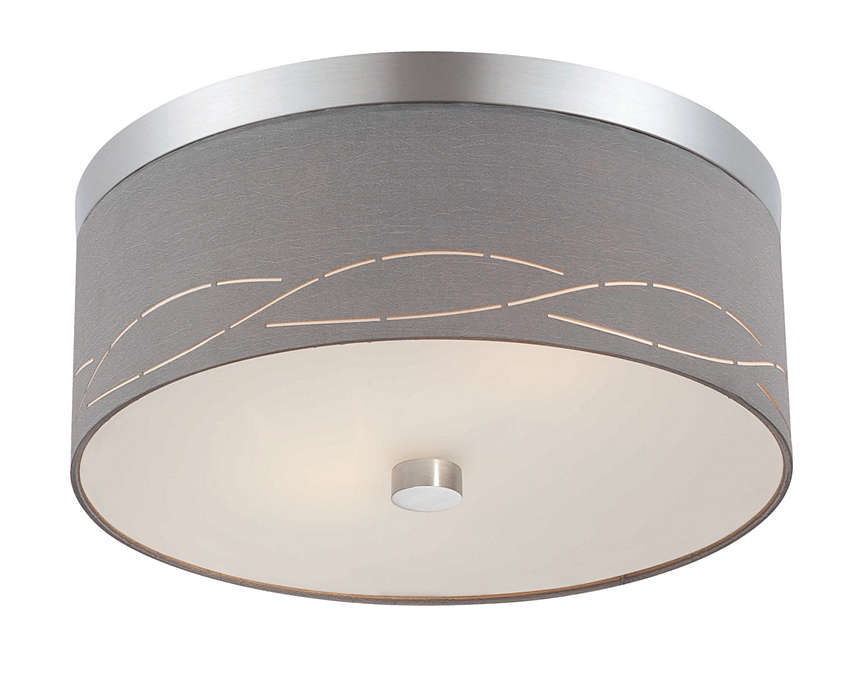 Silver Laser 2-light ceiling fixture, Satin Nickel
