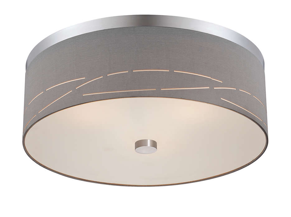 Silver Laser 2-light ceiling fixture, Satin Nickel