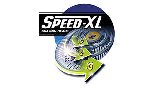 Speed-XL shaving heads with 50% more shaving surface