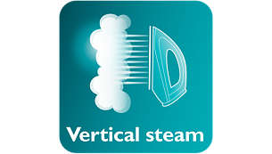 Vertical steam for crease removal in hanging fabrics