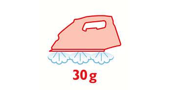 Kontinuálna para až do 30 g/min. pre lepšie vyžehlenie záhybov