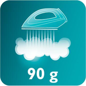 La salida de vapor de 90g elimina las arrugas más rebeldes de forma muy fácil