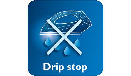 Dryppstoppsystemet holder klærne flekkfrie mens du stryker