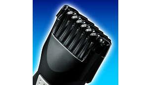 El peine-guía para barba y bigote se puede fijar en 9posiciones diferentes