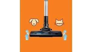 Накрайникът Turbo Brush премахва 25% повече косми и прах