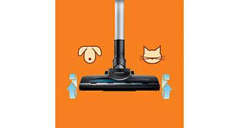 La brosse Turbo élimine 25% de cheveux et de poussière en plus