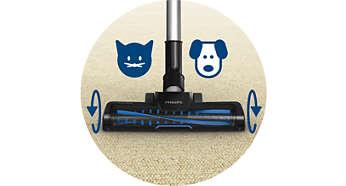 渦輪刷毛型吸嘴可多清除 25% 的毛髮與灰塵